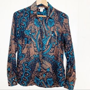 Lucky Brand 100% silk patterned button up blouse
